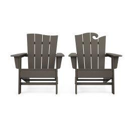 Polywood Furnishings - Wave 2-Piece Adirondack Set with The Wave Chair Left in Vintage Coffee