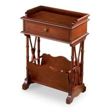See Details - Ample storage and display space in this simply elegant Martini Table that combines function and aesthetics without sacrificing either. Handcrafted from hardwood solids, wood products and cherry veneers in a rich Plantation Cherry finish. Single drawer with antique brass finished hardware. Lower magazine rack.