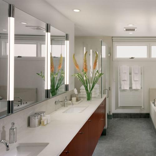 """1.5 Series 1-1/2"""" X 39-3/8"""" X 2-1/8"""" M Series Vertical Lighting With Dimmable Light, Glass Shade and Chrome End Caps"""