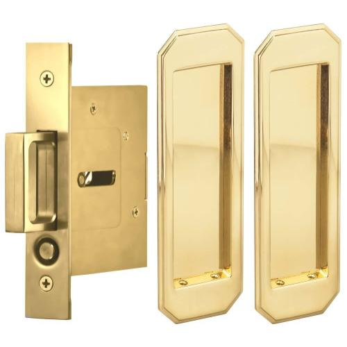 Passage Pocket Door Lock with Traditional Rectangular Trim featuring Mortise Edge Pull in (US3A Polished Brass, Unlacquered)