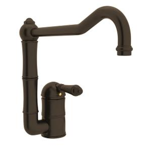 Acqui Single Hole Column Spout Kitchen Faucet with Extended Spout - Tuscan Brass with Metal Lever Handle