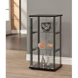 See Details - Contemporary Black and Glass Curio Cabinet