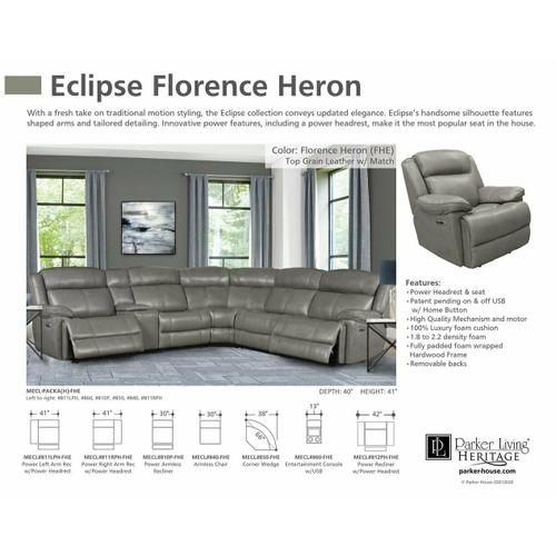 Parker House - ECLIPSE - FLORENCE HERON Power Armless Recliner