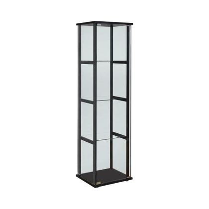 See Details - Contemporary Glass and Black Curio Cabinet