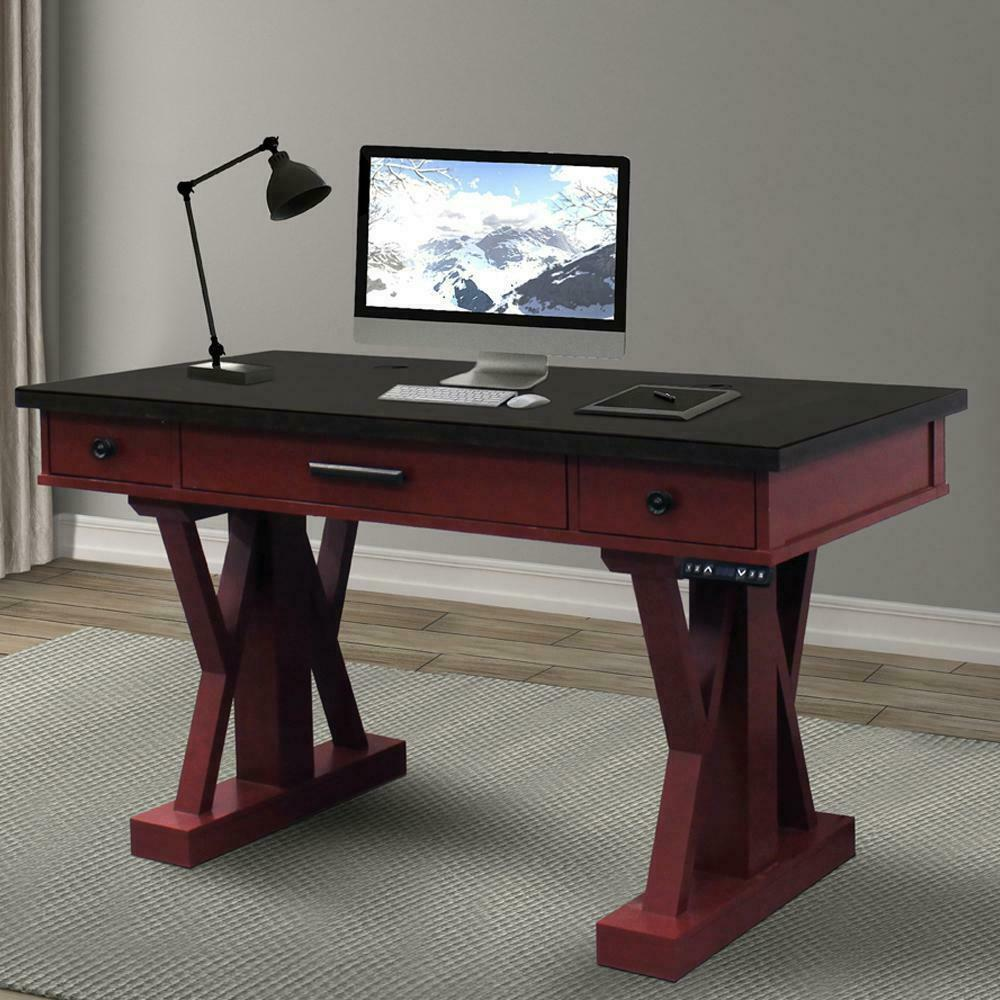 See Details - AMERICANA MODERN - CRANBERRY 56 in. Power Lift Desk (from 23 in. to 48.5 in.) (AME#256T and LIFT#200BLK)