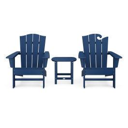 Polywood Furnishings - Wave Collection 3-Piece Set in Navy
