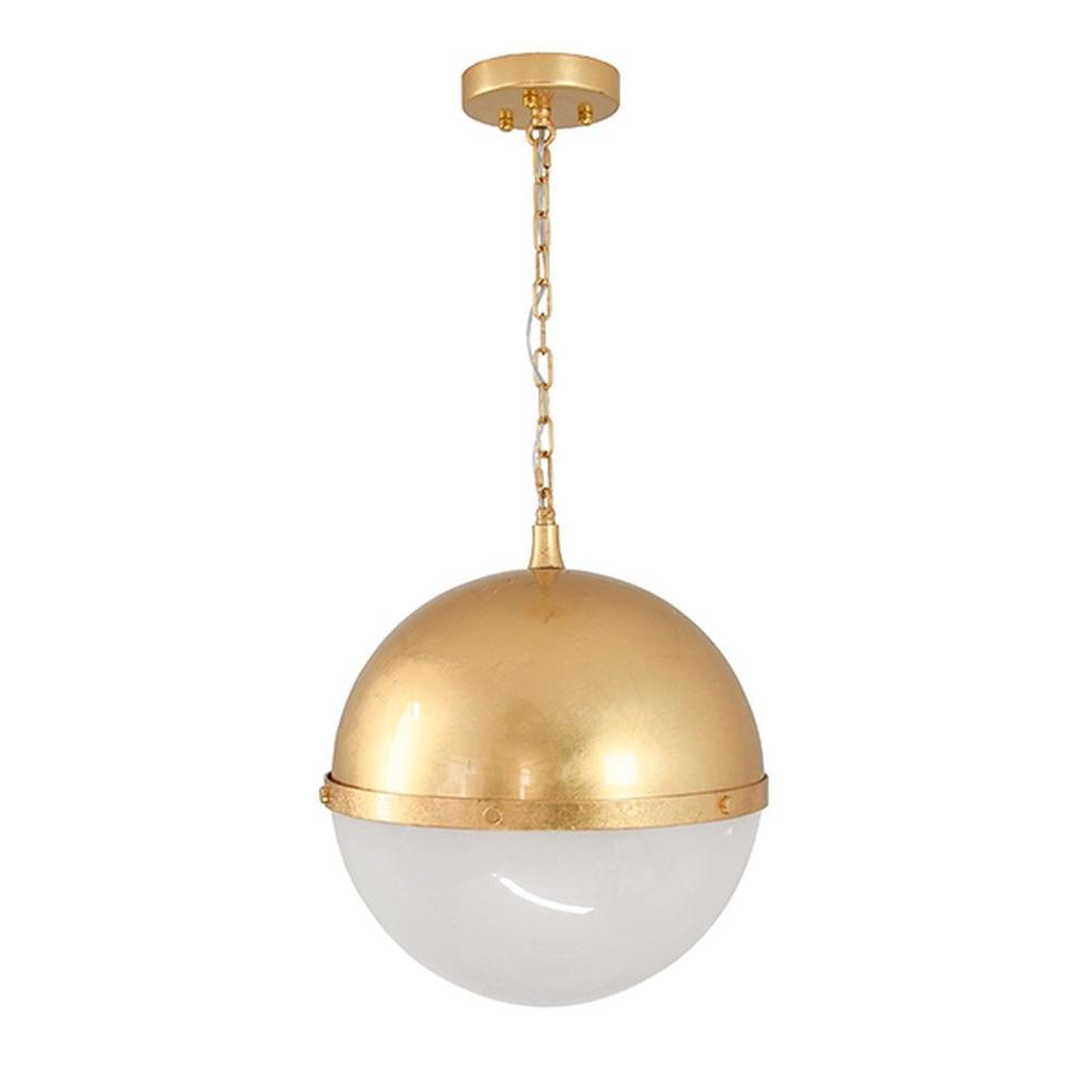 Globe Pendant With Frosted Glass In Gold Leaf