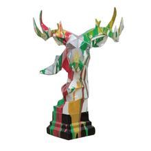 View Product - Modrest Deer Head Multicolor Geometric Sculpture