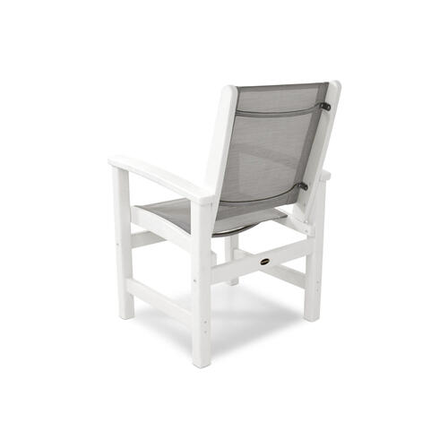 White & Burlap Coastal Dining Chair