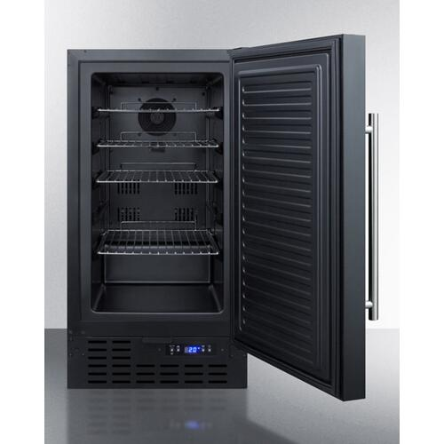"""Summit - ADA Compliant 18"""" Wide Frost-free Freezer In Black for Built-in or Freestanding Use, With Lock and Digital Thermostat"""