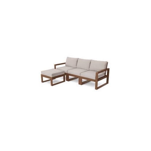 Polywood Furnishings - EDGE 4-Piece Modular Deep Seating Set with Ottoman in Teak / Dune Burlap