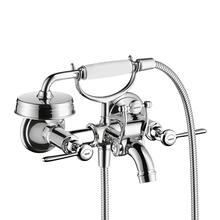 Chrome 2-handle bath mixer for exposed installation with lever handles