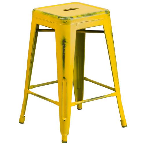 24'' High Backless Distressed Yellow Metal Indoor-Outdoor Counter Height Stool