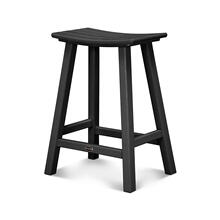 "Black Traditional 24"" Saddle Bar Stool"