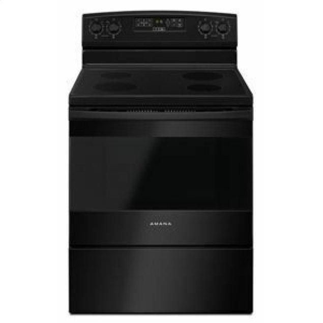 Amana 30-inch Electric Range with Extra-Large Oven Window - Black