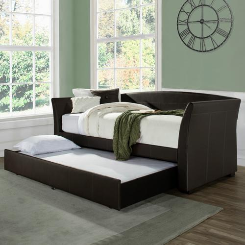 Montgomery Complete Twin-size Daybed With Trundle, Brown Faux Leather