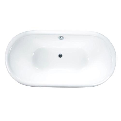 """Cromwell 66"""" Cast Iron Double Roll Top Tub on Base - No Drillings"""
