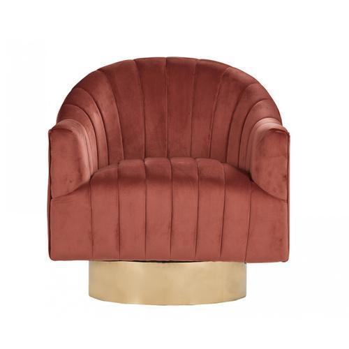 Gallery - Divani Casa Parson Modern Copper Velvet Swivel Armchair