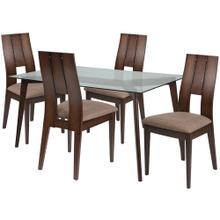 5 Piece Espresso Wood Dining Table Set with Glass Top and Curved Slat Keyhole Back Wood Dining Chairs - Padded Seats