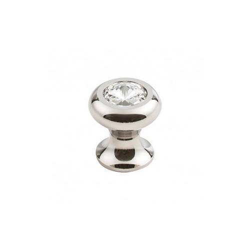 Hayley Crystal Knob Clear 15/16 Inch - Polished Nickel