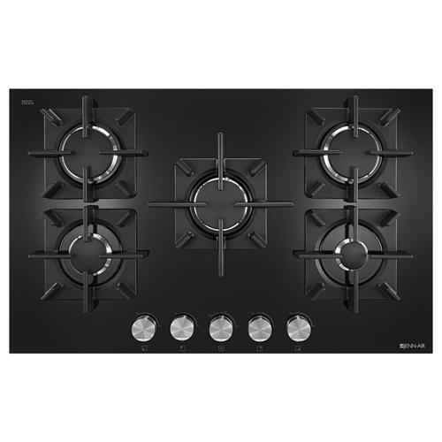"""Black Floating Glass 30"""" 5-Burner Gas Cooktop Black"""