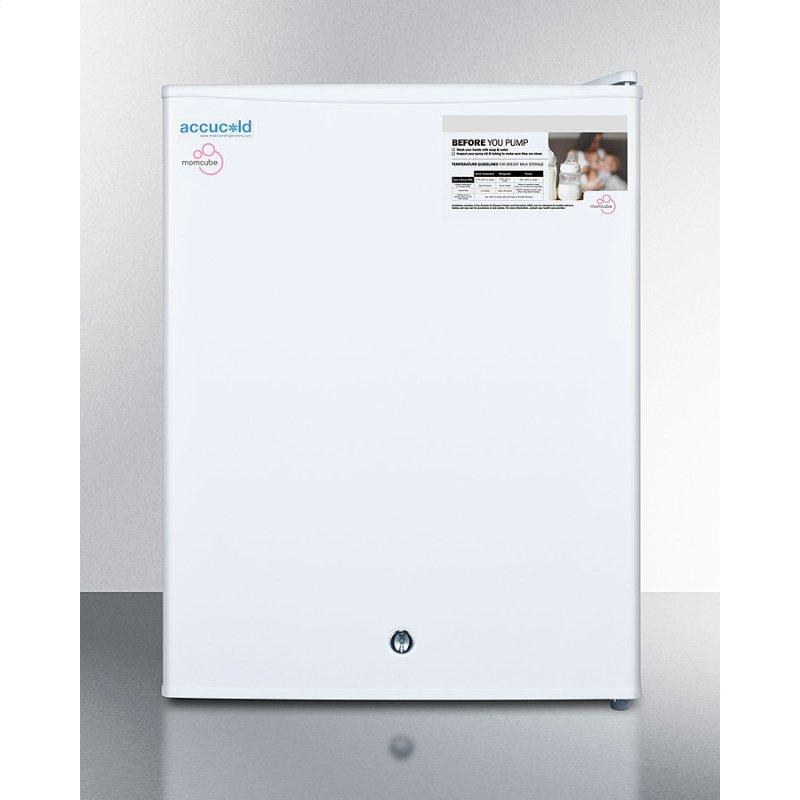 Countertop Momcube All-freezer for Storage of Breast Milk, Manual Defrost With Lock and Reversible Door