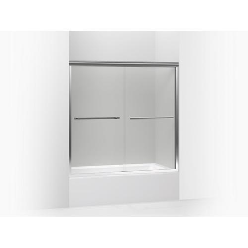 """Crystal Clear Glass With Bright Polished Silver Frame Sliding Bath Door, 58-1/16"""" H X 56-5/8 - 59-5/8"""" W, With 1/4"""" Thick Crystal Clear Glass"""