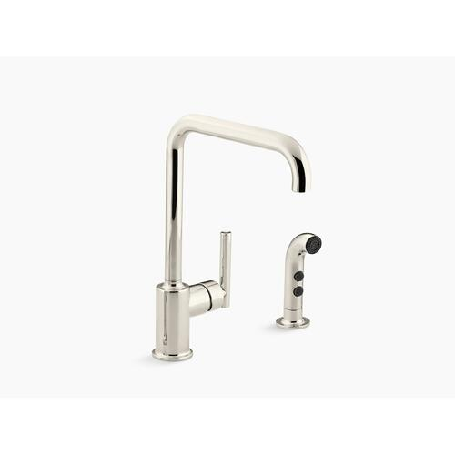 "Vibrant Polished Nickel Two-hole Kitchen Sink Faucet With 8"" Spout and Matching Finish Sidespray"