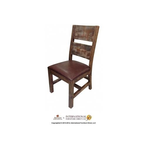 Chair w/Solid Wood - Faux Leather Seat - Multicolor Finish