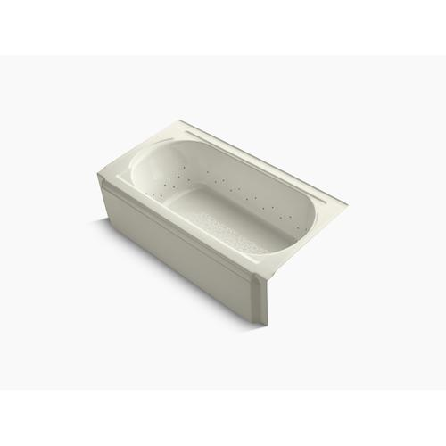 """Biscuit 60"""" X 34"""" Alcove Bubblemassage Air Bath With Vibrant Brushed Nickel Airjet Color Finish and Right-hand Drain"""