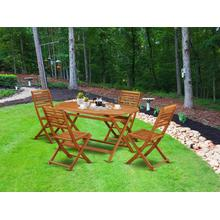 This 5 Piece Acacia Wooden Courtyard Dining Sets offers an Outdoor-Furniture table and 4 chairs