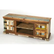 """Short on space but not on design ideas"""" Sometimes it's good to keep things simple. Anchor your den or living room ensemble in effortless style with this rustic entertainment console, featuring solid Mango and Acacia wood construction, with two drawers, a single cabinet and two shelves for all your storage needs in a hand painted primitive multi-color finish."""