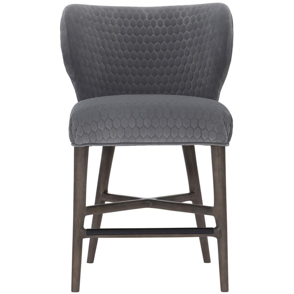 See Details - Kemp Counter Stool in Portobello Finishes Available Cocoa (CN1) Portobello (PN1) Smoke (SN1) Description Upholstered seat with welt Fully upholstered curved back Powder-coated metal cap on front stretcher in black finish Glides Options Note: Must be ordered with welt. No nailhead option. Available in other fabrics or COM. To order in the available non-wire brushed finishes, specify the 3-digit finish number. Also available in wire brushed finishes - Glacier White, Midnight Black and Weathered Greige. See 305-585W . Specifications subject to change without notice. Due to differences in screen resolutions, the fabrics and finishes displayed may vary from the actual fabric and finish colors. ALL RELATED PRODUCTS