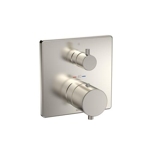 Thermostatic Mixing Valve with Two-way Diverter Trim - Square - Brushed Nickel