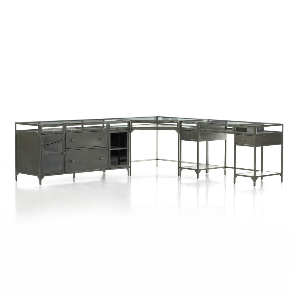 See Details - Gunmetal Finish Shadow Box Desk W/ Filing Credenza