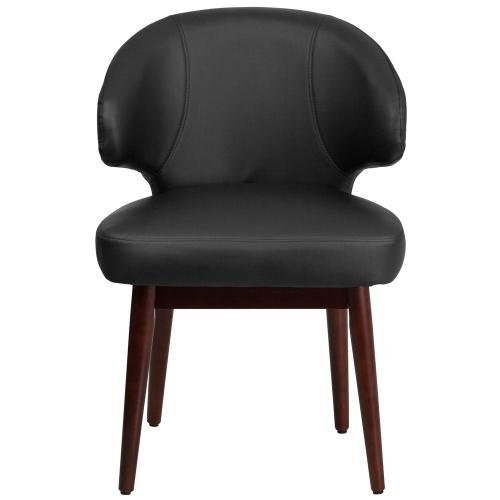 Black Leather Side Reception Chair with Walnut Legs