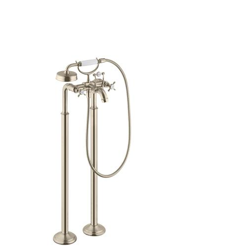 Brushed Nickel 2-handle bath mixer floor-standing with cross handles