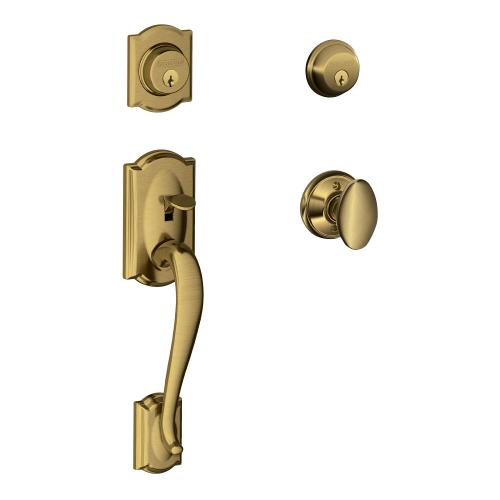 Camelot Double Cylinder Handleset and Siena Knob - Antique Brass