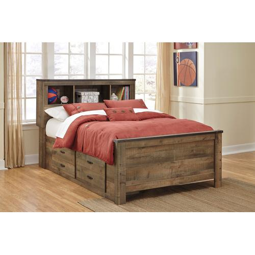 Trinell Full Bed W/Under Bed Storage & Bookcase Headboard Brown