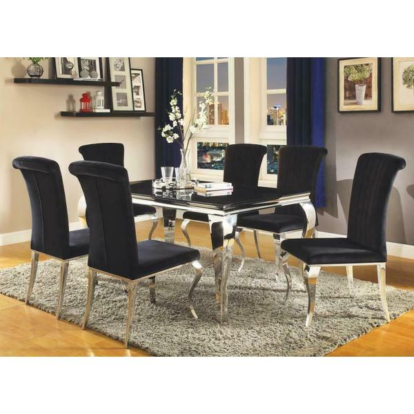 See Details - Carone Contemporary Black and Silver Five-piece Dining Set