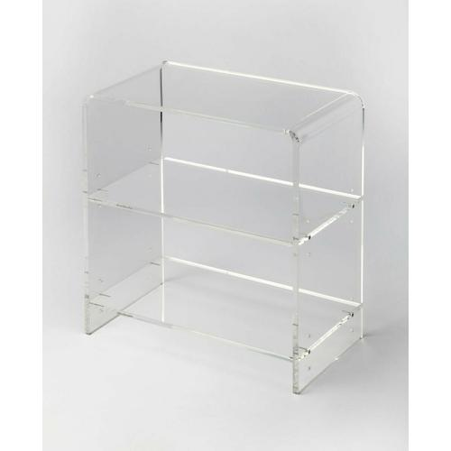 Crafted from clear acrylic and featuring a minimalist modern design. This bookcase's understated look lets your favorite photobooks or intriguing objects take center stage.