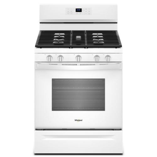 "Whirlpool 30"" 5.0CF White Gas convection oven with Frozen Bake technology"
