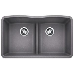 Diamond Equal Double Bowl With Low Divide - Metallic Gray