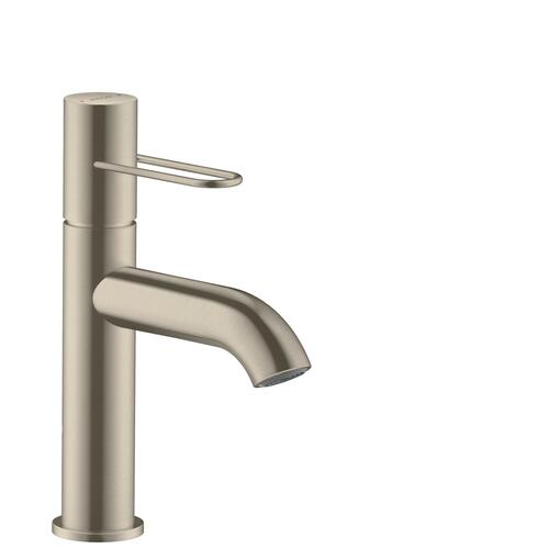 Brushed Nickel Single lever basin mixer 100 with loop handle and waste set