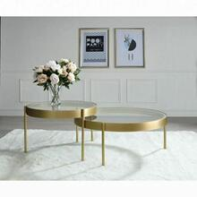 ACME Andover 2Pc Pack Nesting Tables - 83095 - Glam, Contemporary - Metal Tube, Glass - Clear Glass and Gold