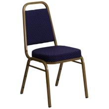 Trapezoidal Back Stacking Banquet Chair in Navy Patterned Fabric - Gold Frame