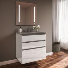 """See Details - Curated Cartesian 30"""" X 7-1/2"""" X 21"""" and 30"""" X 15"""" X 21"""" Three Drawer Vanity In White Glass With Tip Out Drawer, Slow-close Plumbing Drawer, Full Drawer and Engineered Stone 31"""" Vanity Top In Stone Gray (silestone Expo Grey)"""