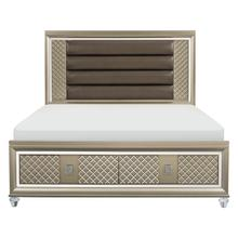 See Details - Queen Platform Bed with LED Lighting and Storage Footboard
