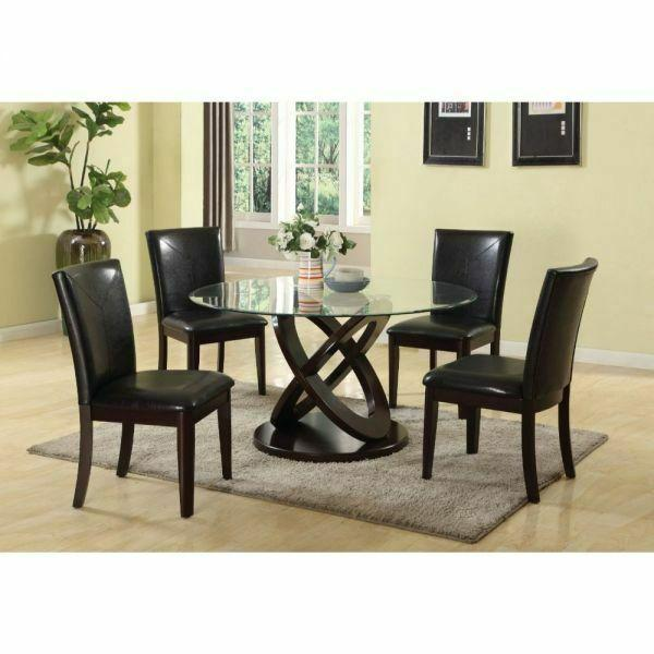 ACME Gable Dining Table - 71985 - Espresso & Clear Glass