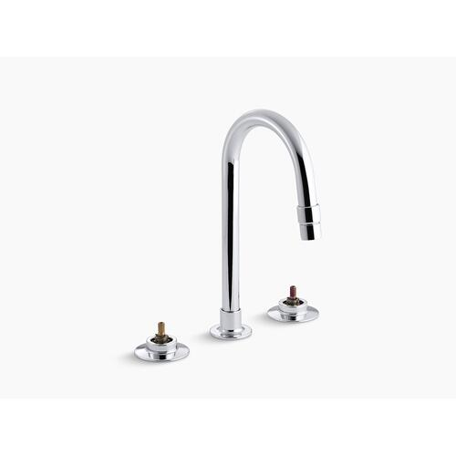 Polished Chrome Widespread Commercial Bathroom Sink Faucet With Gooseneck Spout With Vandal-resistant Aerator and Rigid Connections, Requires Handles, Drain Not Included